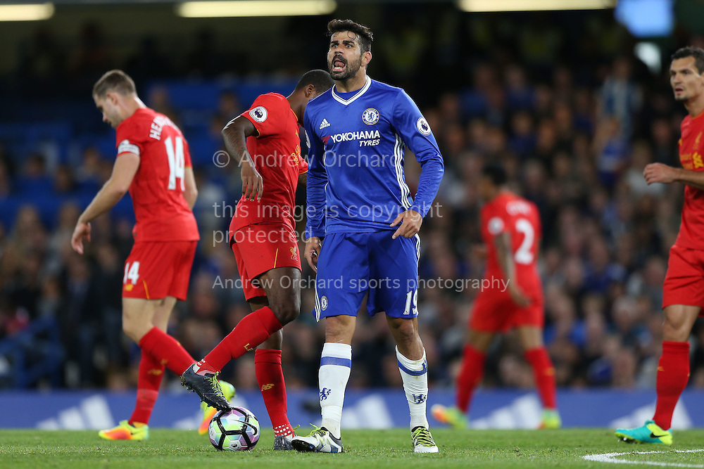 Diego Costa of Chelsea shouting at the assistant referee.  Premier league match, Chelsea v Liverpool at Stamford Bridge in London on Friday 16th September 2016.<br /> pic by John Patrick Fletcher, Andrew Orchard sports photography.
