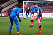 Shrewsbury Town defender Matthew Sadler (5) warming up prior to the EFL Sky Bet League 1 match between Scunthorpe United and Shrewsbury Town at Glanford Park, Scunthorpe, England on 17 March 2018. Picture by Mick Atkins.