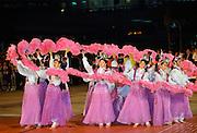 Traditional dancers at dance display in Hong Kong, China