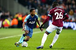 Kyle Walker-Peters of Tottenham Hotspur takes on Arthur Masuaku of West Ham United - Mandatory by-line: Robbie Stephenson/JMP - 31/10/2018 - FOOTBALL - London Stadium - London, England - West Ham United v Tottenham Hotspur - Carabao Cup