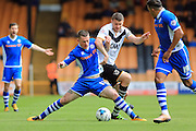 Donal McDermott, Carl Dickinson during the Sky Bet League 1 match between Port Vale and Rochdale at Vale Park, Burslem, England on 23 April 2016. Photo by Daniel Youngs.