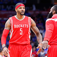 14 May 2015: Houston Rockets forward Josh Smith (5) is congratulated by Houston Rockets guard James Harden (13) during the Houston Rockets 119-107 victory over the Los Angeles Clippers, in game 6 of the Western Conference semifinals, at the Staples Center, Los Angeles, California, USA.