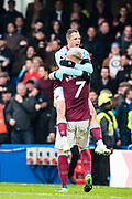 West Ham  (17) Javier Hernández, West Ham  (7) Marko Arnautović, celebrates after scoring goal during the Premier League match between Chelsea and West Ham United at Stamford Bridge, London, England on 8 April 2018. Picture by Sebastian Frej.