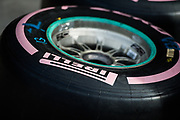 October 19-22, 2017: United States Grand Prix. Pirelli tire with pink marking for breast cancer awareness.