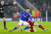 Leicester City forward Ayoze Pérez (17) tackled by West Ham United midfielder Declan Rice (41) during the Premier League match between Leicester City and West Ham United at the King Power Stadium, Leicester, England on 22 January 2020.