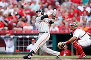 CINCINNATI, OH - MAY 15: Buster Posey #28 of the San Francisco Giants hits a home run against the Cincinnati Reds during the game at Great American Ball Park on May 15, 2015 in Cincinnati, Ohio. The Giants defeated the Reds 10-2. (Photo by Joe Robbins)  Buster Posey
