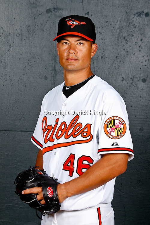 February 26, 2011; Sarasota, FL, USA; Baltimore Orioles starting pitcher Jeremy Guthrie (46) poses during photo day at Ed Smith Stadium.  Mandatory Credit: Derick E. Hingle