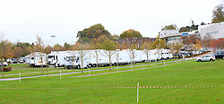 Esher,Surrey Wednesday 1st November 2017 Sandown Park filming: Film trailers spotted in Esher racecourse for 'Mamma Mia sequel'<br /> Film trailers have descended on&nbsp;Sandown Park&nbsp;as speculation mounts it could be for the new Mamma Mia sequel.<br /> Dozens of white vans and trailers were spotted at the&nbsp;Esher&nbsp;racecourse on Tuesday (October 31) and officials confirmed that filming was taking place for a Universal Pictures production.<br /> <br /> A spokesperson for the racecourse said: &quot;We can confirm that filming for a Universal Pictures production is taking place at Sandown Park today.<br /> &quot;We can't confirm the name of the film.&quot;<br /> However vans at the racecourse have signs labelled 'MM!2' on the windscreen, giving rise to speculation that the filming is for the Mamma Mia sequel - 'Mamma Mia! Here We Go Again'.<br /> The film is rumoured to be released on July 20 2018 and will star Lily James who will be playing a younger version of Meryl Streep's character Donna Sheridan.<br /> <br /> <br /> <br /> Meryl Streep, Amanda Seyfried, Pierce Brosnan, Colin Firth, Julie Walters, Christine Baranski, Stellan Skarsg&aring;rd and Dominic Cooper will reprise their roles for the sequel, while singer Cher will make a special apperance.<br /> New actor Josh Dylan will play opposite Lily James as her love interest, he plays a younger version of Bill, who could possibly be the father of Sophie (Amanda Seyfried).<br /> It is understood the cast gathered in October at Shepperton Studios to film some song and dance numbers with Cher.<br /> <br /> <br /> &copy;UKNIP