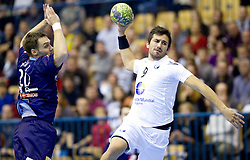 Luka Zvizej of Slovenia vs Pedro Solha of Portugal during handball match between National teams of Slovenia and Portugal in the Qualifications of the EHF EURO 2012, on October 27, 2010 at Arena Zlatorog, Celje, Slovenia. Slovenia defeated Portugal 34 - 31.(Photo By Vid Ponikvar / Sportida.com)