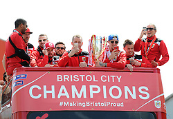 Bristol City players on the Celebration tour bus - Photo mandatory by-line: Dougie Allward/JMP - Mobile: 07966 386802 - 04/05/2015 - SPORT - Football - Bristol -  - Bristol City Celebration Tour