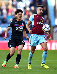 Matthew Lowton of Burnley controls the ball under pressure from Lee Chung-Yong of Crystal Palace - Mandatory by-line: Robbie Stephenson/JMP - 10/09/2017 - FOOTBALL - Turf Moor - Burnley, England - Burnley v Crystal Palace - Premier League
