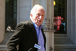 © Licensed to London News Pictures. 17/09/2019. London, UK. David Dimbleby - British journalist and former presenter of current affairs and political programmes outside UK Supreme Court in London on the first day of the three day appeal hearing in the multiple legal challenges against the Prime Minister Boris Johnson's decision to prorogue Parliament ahead of a Queen's speech on 14 October. Eleven instead of the usual nine Supreme Court justices will hear the politically charged claim that Boris Johnson acted unlawfully in advising the Queen to suspend parliament for five weeks in order to stifle debate over the Brexit crisis.It is the first time the Supreme Court has been summoned for an emergency hearing outside legal term time.Lady Hale, the first female president of the court who retires next January, will preside. Photo credit: Dinendra Haria/LNP