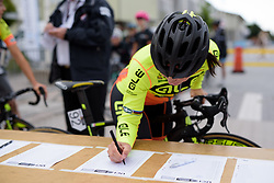 Marta Bastianelli signs in for the Crescent Vargarda - a 152 km road race, starting and finishing in Vargarda on August 13, 2017, in Vastra Gotaland, Sweden. (Photo by Sean Robinson/Velofocus.com)