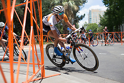 Moniek Tenniglo (NED) of Rabo-Liv Cycling Team leans into a corner during the fourth, 70 km road race stage of the Amgen Tour of California - a stage race in California, United States on May 22, 2016 in Sacramento, CA.