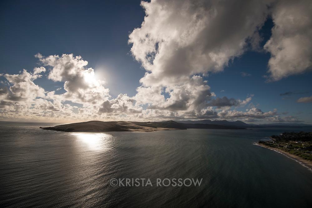 Aerial vista near Omapere in the Hoikianga region of Northland, New Zealand.