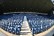 Blue and White flags on every seat of the stand during the EFL Sky Bet Championship play-off second leg match between West Bromwich Albion and Aston Villa at The Hawthorns, West Bromwich, England on 14 May 2019.