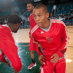 RENO, NV - JANUARY 10:  Jerome Randle #7 greets his teammates Ricky Davis #12, left, and Xavier Silas #13 during pre game introductions before tipping off agains the Sioux Falls Skyforce during the 2012 NBA D-League Showcase inside the Reno Events Center in Reno, Nev., Tuesday, Jan. 10, 2012.  NOTE TO USER: User expressly acknowledges and agrees that, by downloading and or using this photograph, User is consenting to the terms and conditions of the Getty Images License Agreement. Mandatory Copyright Notice: Copyright 2012 NBAE  (Photo by David Calvert/NBAE via Getty Images) *** Local Caption *** Jerome Randle;Ricky Davis;Xavier Silas