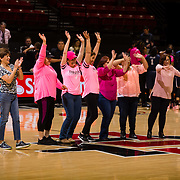 10 February 2018: The San Diego State Aztecs women's basketball team hosts Nevada on Play4Kay day at Viejas Arena. Cancer survivors take center court for acknowledgement during a time out in the game.  The Aztecs beat the Wolfpack 75-72. <br /> More game action at www.sdsuaztecphotos.com