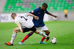 Pascal Itter of Germany vs Thomas Lemar of France during the UEFA European Under-17 Championship Group A match between Germany and France on May 10, 2012 in SRC Stozice, Ljubljana, Slovenia. (Photo by Vid Ponikvar / Sportida.com)