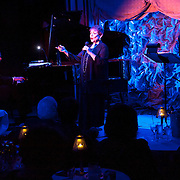 "November 19, 2012 - New York, NY : Singer-songwriter Sandy Stewart performs her routine ""Something to Remember"" at Feinstein's at Loews Regency in Manhattan on Monday evening. She is accompanied by her son, pianist Bill Charlap (left), and bassist Peter Washington (right). CREDIT: Karsten Moran for The New York Times"