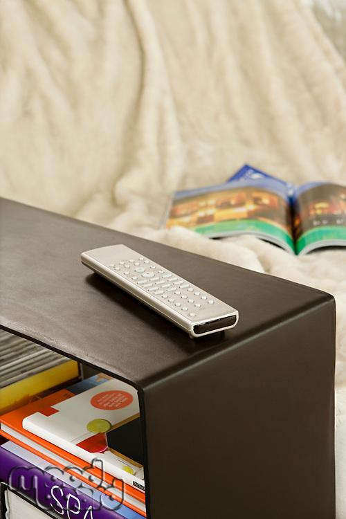 Remote control on shelf