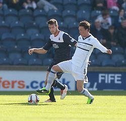 Falkirk's Kieran Duffie and Raith Rovers Joe Cardle.<br /> Half time : Raith Rovers 1 v 0 Falkirk, Scottish Championship 28/9/2013.<br /> &copy;Michael Schofield.