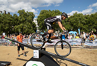 Andrei Burton and his world class team of male and female champions take on the world championship standard course in the Green Park Festival Zone, part of The Prudential RideLondon FreeCycle. Saturday 28th July 2018<br /> <br /> Photo: Jed Leicester for Prudential RideLondon<br /> <br /> Prudential RideLondon is the world's greatest festival of cycling, involving 100,000+ cyclists - from Olympic champions to a free family fun ride - riding in events over closed roads in London and Surrey over the weekend of 28th and 29th July 2018<br /> <br /> See www.PrudentialRideLondon.co.uk for more.<br /> <br /> For further information: media@londonmarathonevents.co.uk