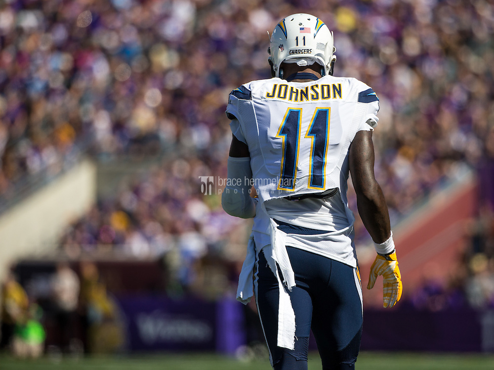 Sep 27, 2015; Minneapolis, MN, USA; San Diego Chargers wide receiver Stevie Johnson (11) against the Minnesota Vikings at TCF Bank Stadium. The Vikings defeated the Chargers 31-14. Mandatory Credit: Brace Hemmelgarn-USA TODAY Sports
