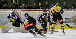05.02.2016, Messestadion, Dornbirn, AUT, EBEL, Dornbirner Eishockey Club vs UPC Vienna Capitals, 50. Runde, im Bild v.l. David Madlener, (Dornbirner Eishockey Club, #31), Nicholas Crawford, (Dornbirner Eishockey Club, #04) und Matthew Dzieduszycki, (UPC Vienna Capitals #46)// during the Erste Bank Icehockey League 50th round match between Dornbirner Eishockey Club and UPC Vienna Capitals at the Messestadion in Dornbirn, Austria on 2016/02/05, EXPA Pictures © 2016, PhotoCredit: EXPA/ Peter Rinderer