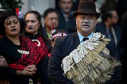 """© Licensed to London News Pictures. 24/09/2018. LONDON, UK.  Members of Ngati Ranana, the London Maori Club, take part in a ceremonial procession and blessing ceremony for the forthcoming """"Oceania"""" exhibition at the Royal Academy of Arts.  The exhibition runs 29 September – 10 December 2018, representing the art of Melanesia, Micronesia and Polynesia, encompassing the vast Pacific region from New Guinea to Easter Island, Hawaii to New Zealand.  Photo credit: Stephen Chung/LNP"""