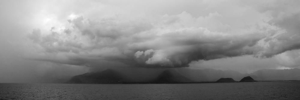 Thunderhead over Makaha, Waianae,  and Nanakuli, West Side of Oahu, Hawaii.