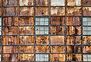 Abandoned factory facade abstract.