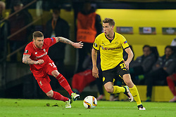 DORTMUND, GERMANY - Thursday, April 7, 2016: Liverpool's Alberto Moreno in action against Borussia Dortmund's Erik Durm during the UEFA Europa League Quarter-Final 1st Leg match at Westfalenstadion. (Pic by David Rawcliffe/Propaganda)