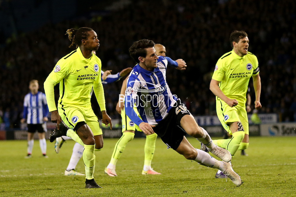 Sheffield Wednesday midfielder Kieran Lee (20) scores a goal  to make the score 2-0 during the Sky Bet Championship play-off first leg match between Sheffield Wednesday and Brighton and Hove Albion at Hillsborough, Sheffield, England on 13 May 2016. Photo by Simon Davies.