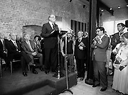 24/08/1984<br /> 08/24/1984<br /> 24 August 1984<br /> Opening of ROSC '84 at the Guinness Store House, Dublin. Lord Iveagh gives his speech at the ROSC 1984 opening. Seated behind are (front row): President Patrick Hillery and Mr Pat Murphy, ROSC Chairman and (back row) Brian Slowey, Managing Director, Guinness, Ireland and Maeve Hillery.