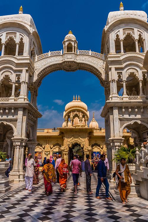 Sri Krishna-Balaram Mandir (Hare Krishna Hindu Temple) during Holi festival, Vrindavan, near Mathura, Uttar Pradesh, India.