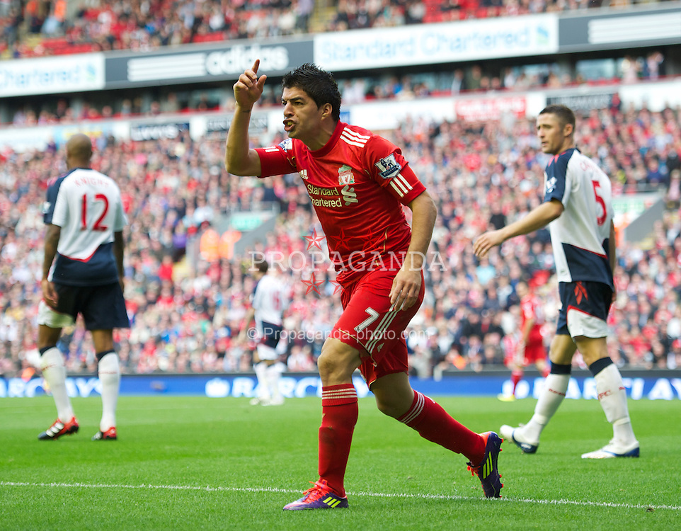 LIVERPOOL, ENGLAND - Saturday, August 27, 2011: Liverpool's Luis Alberto Suarez Diaz appeals for a penalty against Bolton Wanderers during the Premiership match at Anfield. (Pic by David Rawcliffe/Propaganda)