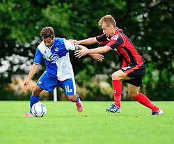 Bristol Rovers' U18s Carlos Gonzalez Barra holds of his opponent - Photo mandatory by-line: Dougie Allward/JMP - Tel: Mobile: 07966 386802 17/08/2013 - SPORT - FOOTBALL - Bristol Rovers Training Ground - Friends Life Sports Ground - Bristol - Academy - Under 18s - Youth - Bristol Rovers U18s V Bournemouth U18s