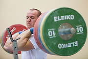 Marcin Dolega from Poland (Zawisza Bydgoszcz) during training session two weeks before weightlifting IWF World Championships Wroclaw 2013 at the Olympic Sports Centre in Spala on October 08, 2013.<br /> <br /> Poland, Warsaw, September 16, 2013<br /> <br /> Picture also available in RAW (NEF) or TIFF format on special request.<br /> <br /> For editorial use only. Any commercial or promotional use requires permission.<br /> <br /> Mandatory credit:<br /> Photo by &copy; Adam Nurkiewicz / Mediasport