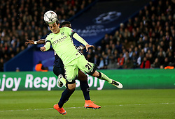 David Silva of Manchester City heads the ball wide of the goal - Mandatory by-line: Robbie Stephenson/JMP - 06/04/2016 - FOOTBALL - Parc des Princes - Paris,  - Paris Saint-Germain v Manchester City - UEFA Champions League Quarter Finals First Leg