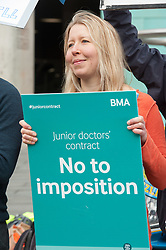 © Licensed to London News Pictures.06/04/2016. Bristol, UK.  Junior Doctors protest at the Bristol Royal Infirmary at the start of another 48 hour strike against a new Government imposed NHS contract. Photo credit : Simon Chapman/LNP