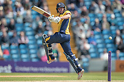 Michael Richardson (Durham CCC) hits a four during the Royal London 1 Day Cup match between Yorkshire County Cricket Club and Durham County Cricket Club at Headingley Stadium, Headingley, United Kingdom on 3 May 2017. Photo by Mark P Doherty.