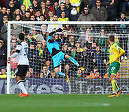 Tom Huddlestone of Derby County has a shot on goal but Angus Gunn of Norwich makes a great save during the Sky Bet Championship match at Carrow Road, Norwich<br /> Picture by Paul Chesterton/Focus Images Ltd +44 7904 640267<br /> 28/10/2017