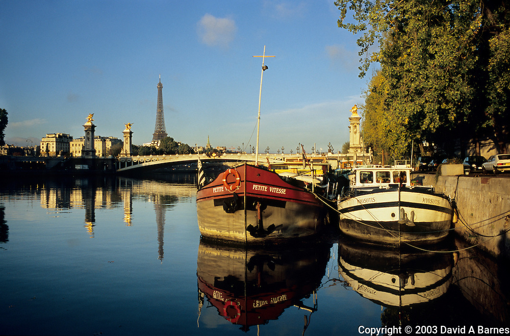 Barges, Port des Champs Elysees, Seine, Eiffel Tower, Pont Alexandre III, Paris, France