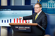 White House Council of Economic Advisers chairman Kevin Hassett gives an update on the economy during the daily press briefing at the White House on June 5, 2018 in Washington, DC. Hassett declined to say whether new tariffs will hurt economic growth.          Photo by Pete Marovich/UPI