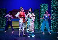 Katherine Proulx as Aladdin and Rebecca Tucker as the Princess during Thursday evening dress rehearsal for the zany, musical production of Aladdin at the Winnipesaukee Playhouse.  (Karen Bobotas/for the Laconia Daily Sun)
