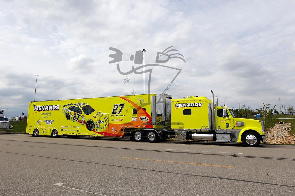KANSAS CITY, KS - APR 19, 2012:  The Menards hauler waits to park  for the STP 400 at the Kansas Speedway in Kansas City, KS.