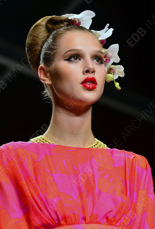 15.SEPTEMBER.2012. LONDON<br /> <br /> MODELS ON THE RUNWAY FOR THE ISSA LFW CATWALK SHOW.<br /> <br /> BYLINE: EDBIMAGEARCHIVE.CO.UK/JOE ALVAREZ<br /> <br /> *THIS IMAGE IS STRICTLY FOR UK NEWSPAPERS AND MAGAZINES ONLY*<br /> *FOR WORLD WIDE SALES AND WEB USE PLEASE CONTACT EDBIMAGEARCHIVE - 0208 954 5968*