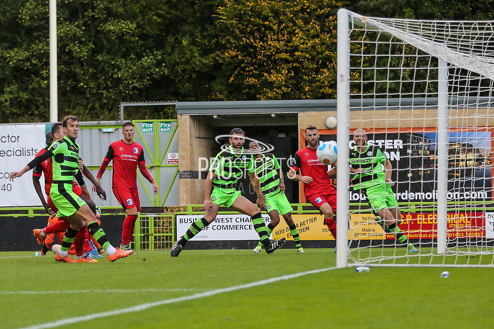 Forest Green Rovers Aarran Racine(21) header. Hits the post during the Vanarama National League match between Forest Green Rovers and Barrow at the New Lawn, Forest Green, United Kingdom on 1 October 2016. Photo by Shane Healey.