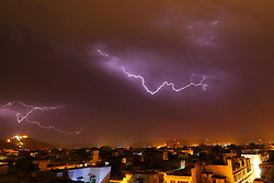 May 19, 2017 - Jaipur, Rajasthan, India - A view of thunder lightning strikes over the sky at walled city of Jaipur , Rajasthan , India on 19 May, 2017. (Credit Image: © Vishal Bhatnagar/NurPhoto via ZUMA Press)